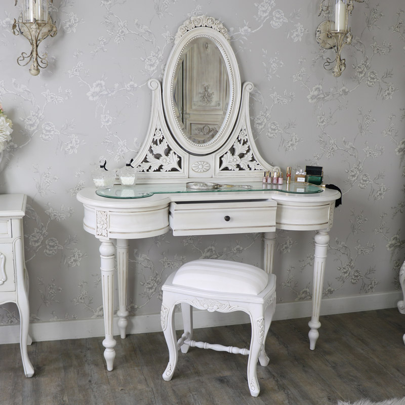 Antique Cream Dressing Table Mirror And Stool Set