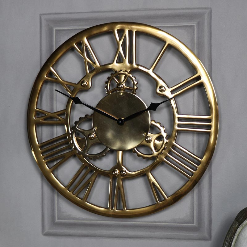 Antique Gold Metal Cog Skeleton Wall Clock