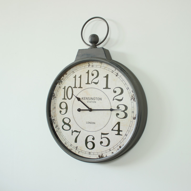 Antique Grey Metal Wall Hanging Clock