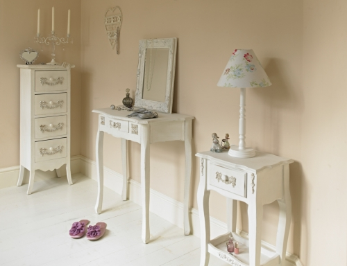 Antique white  3 drawer  chest/bedside table - ' Pays Blanc ' range