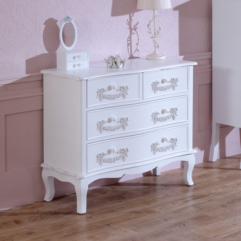 Antique White 4 Drawer Chest of Drawers   Pays Blanc Range. Ivory 2 over 2 chest   Melody Maison