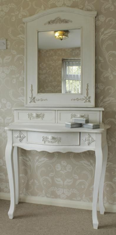 Pays blanc range antique white dressing table and mirror for French white dressing table