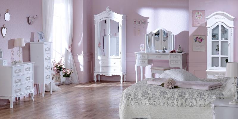 Pays Blanc Range - Antique White Mirrored Closet