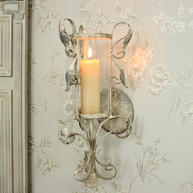 Antique White Ornate Hurricane Lamp