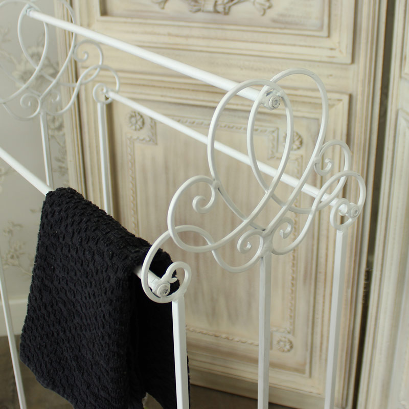 Antique White Ornate Metal Towel Rail