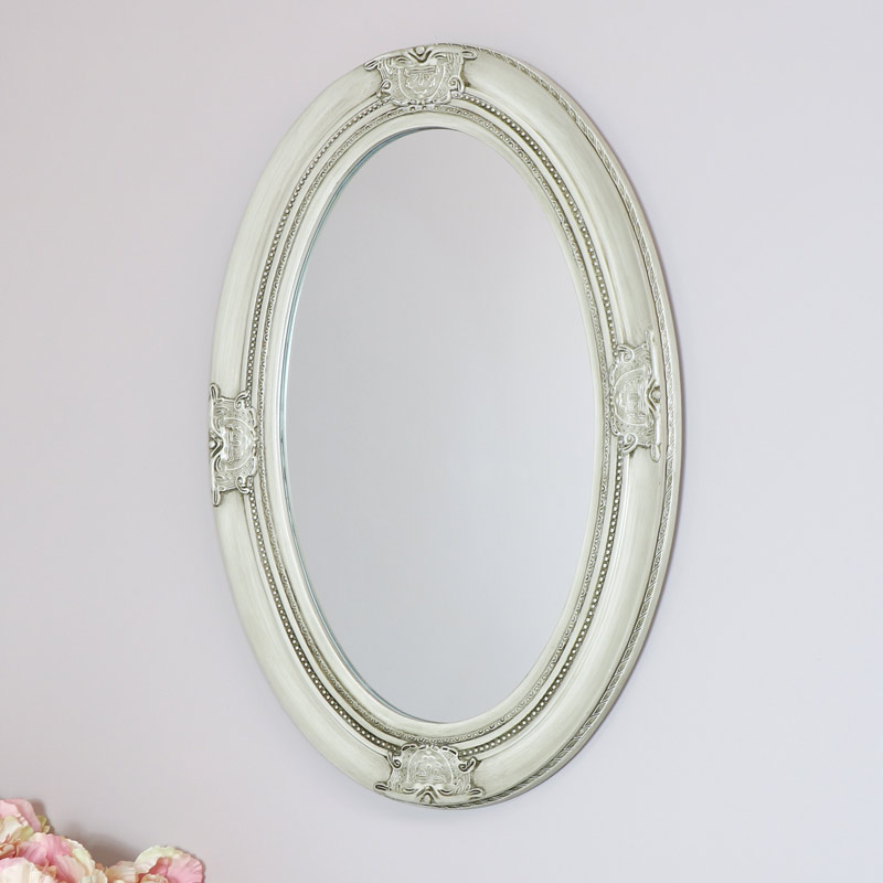 Antique White Ornate Oval Wall Mirror 50cm X 70cm Melody