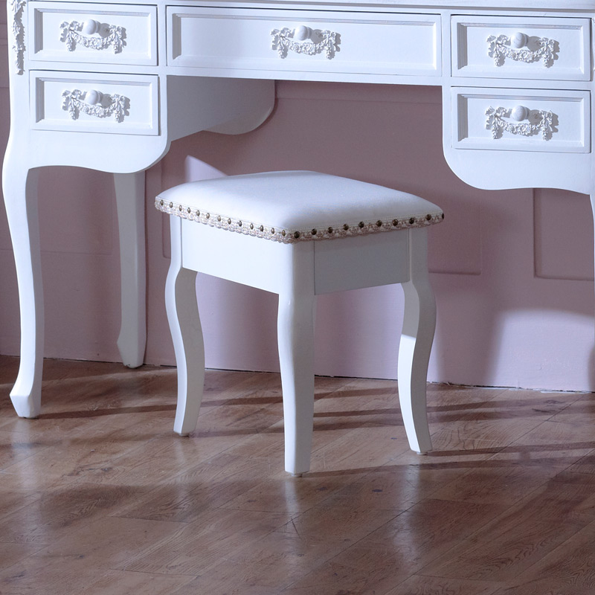 Pays Blanc Range - Antique White Padded Dressing Table Stool