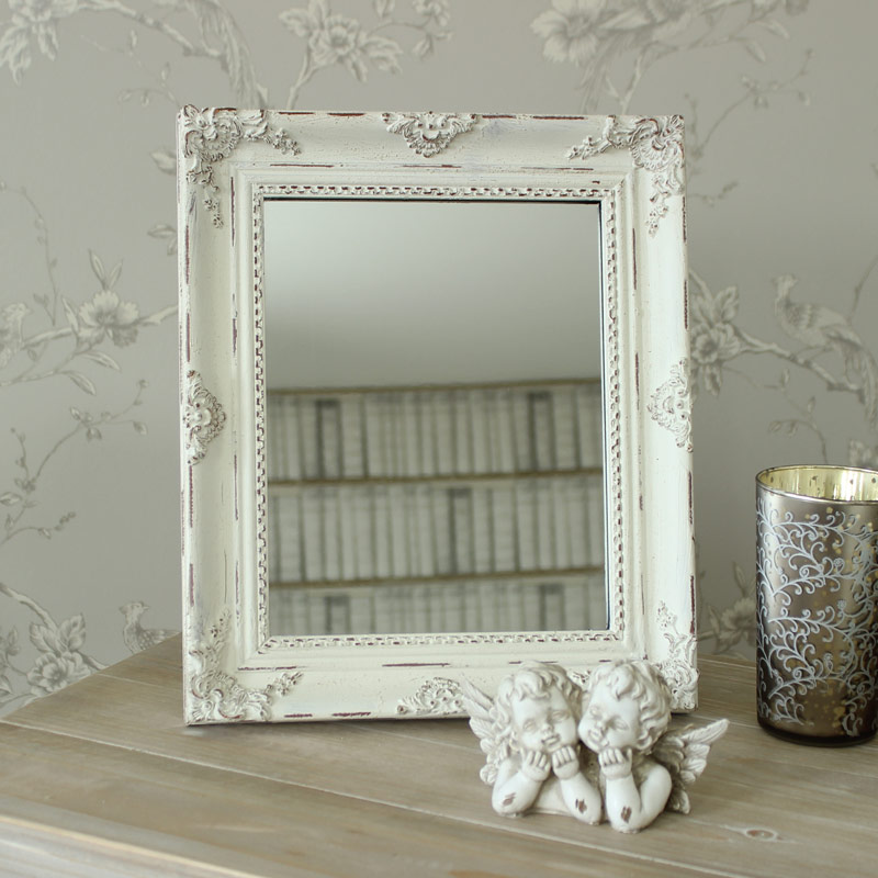 Antique White Table Mirror