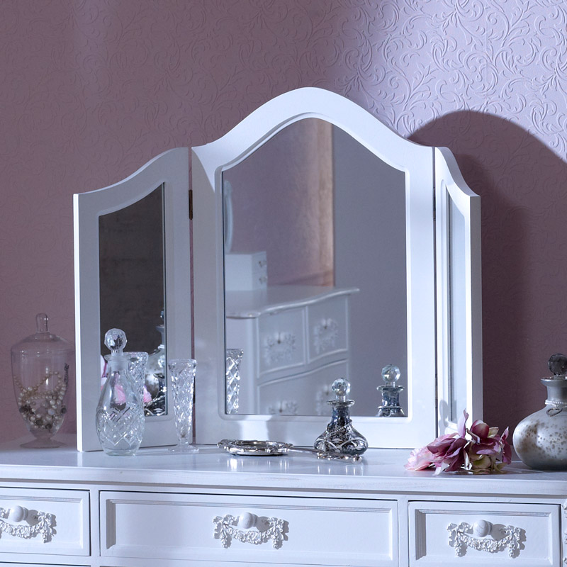 Antique White Triple Dressing Table Mirror - Pays Blanc Range