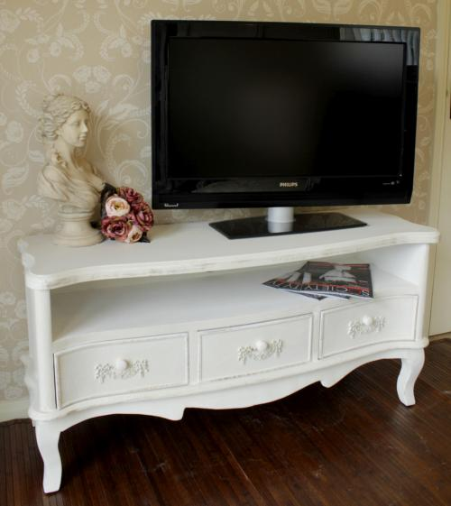 TV cabinet antique white shabby cupboard chic Television stand lounge dvd lounge living 3 drawer