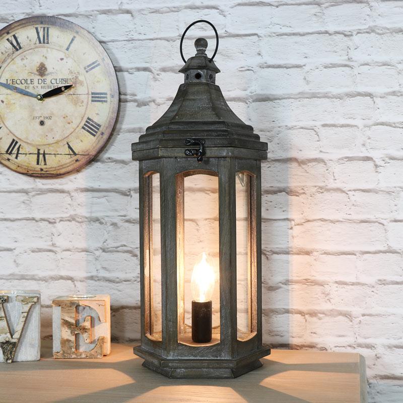 Antique Lamp Vintage Table Co : Antique wooden lantern style table lamp melody maison