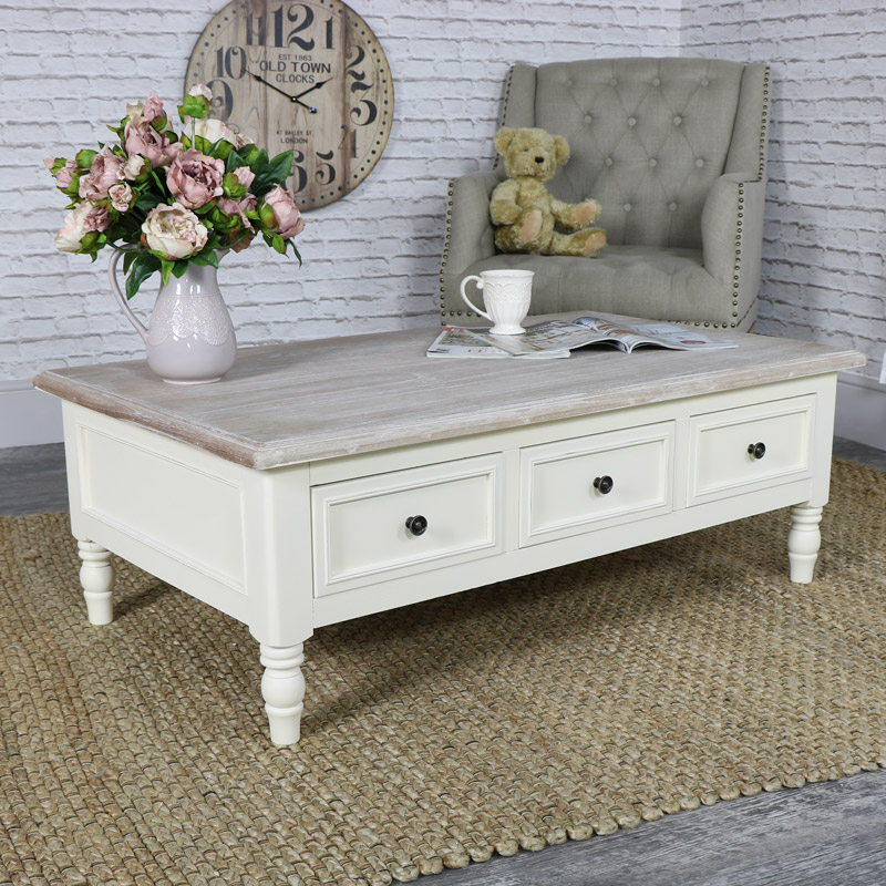 Antoinette range cream coffee table melody maisonr for Antique cream coffee table