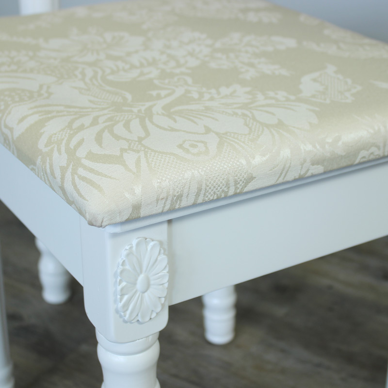Arabella Range - White Padded Stool