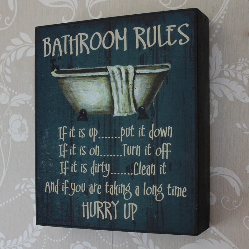 'Bathroom Rules' Wooden Wall Plaque
