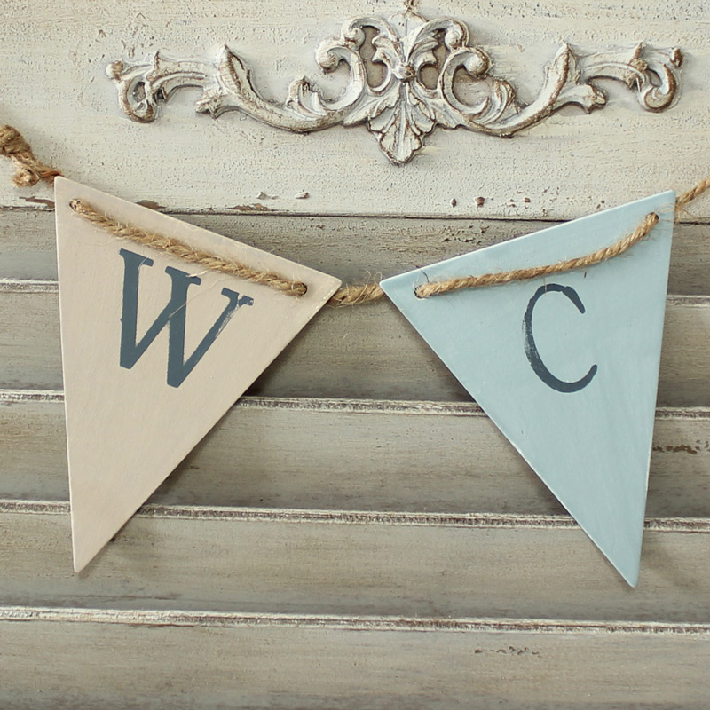 Bathroom 'WC' Bunting Door Sign