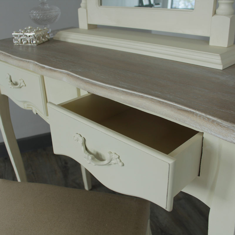Belfort Range - Cream 2 Drawer Dressing Table, stool and swing mirror
