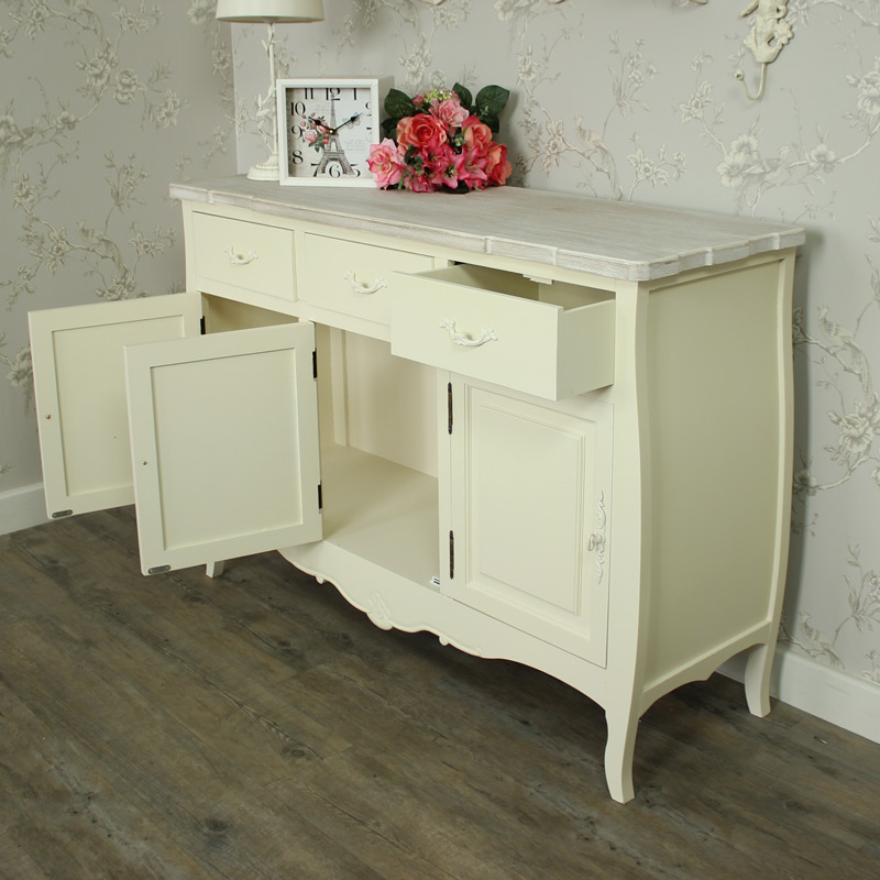 Belfort Range - Cream Three Drawer Sideboard With Cupboards