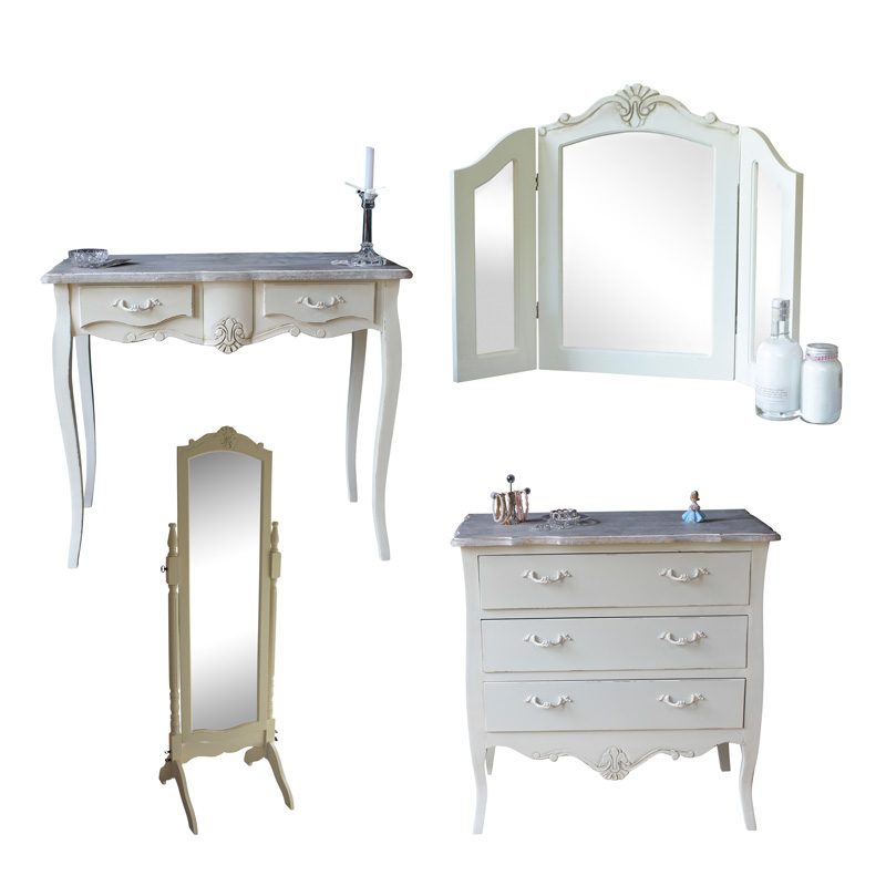 Cream Wooden Bedroom Set Dressing Table Mirror Chest Drawers Shabby ...