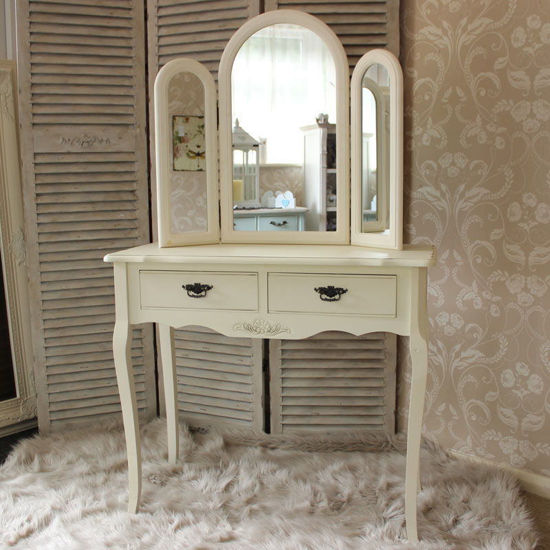 Belgravia range cream dressing table and triple mirror for Range dressing table