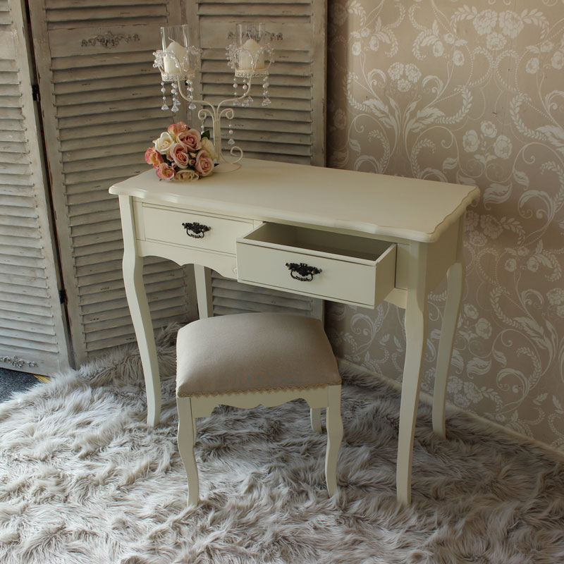 Belgravia Range - Cream Dressing Table with Fabric Stool