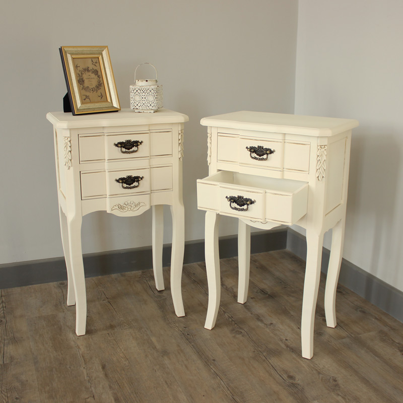 Belgravia Range - Furniture Bundle, Pair of Cream 2 Drawer Bedside Table