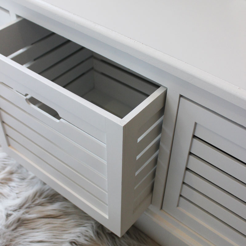 Storage Bench Three Drawers White Bedroom Hallway Shoes