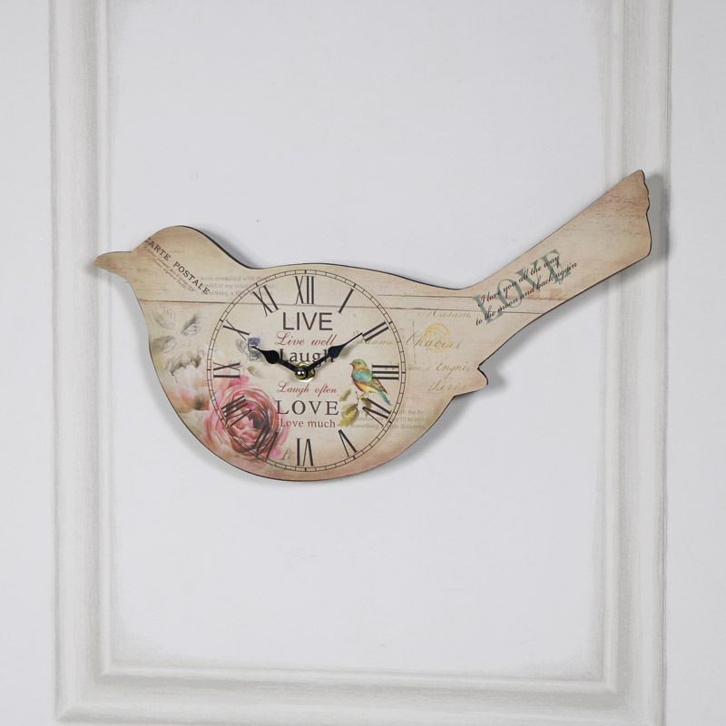 Bird Wall Clock in Cream