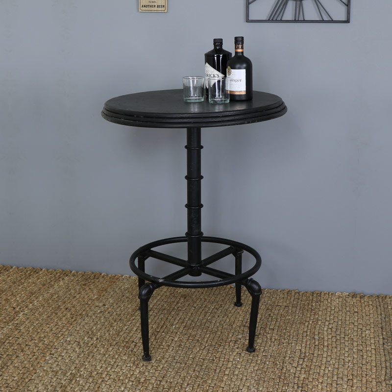 Black metal industrial adjustable bar table melody maison - Table bar industriel ...