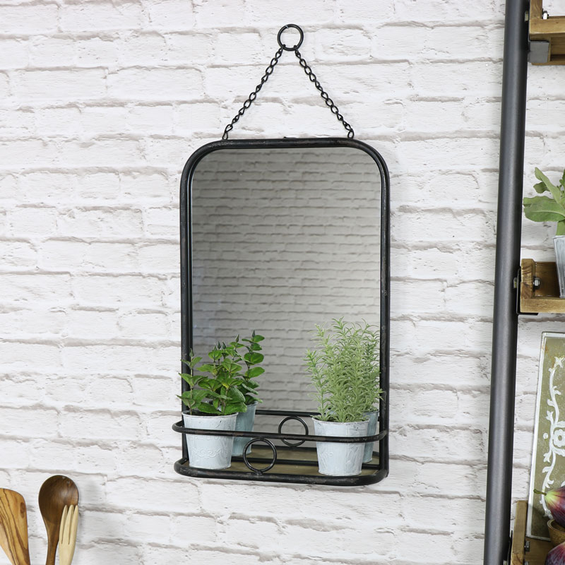 Black Metal Industrial Vanity Wall Mirror With Shelf 32cm