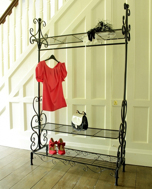 black ornate clothes rail melody maison. Black Bedroom Furniture Sets. Home Design Ideas