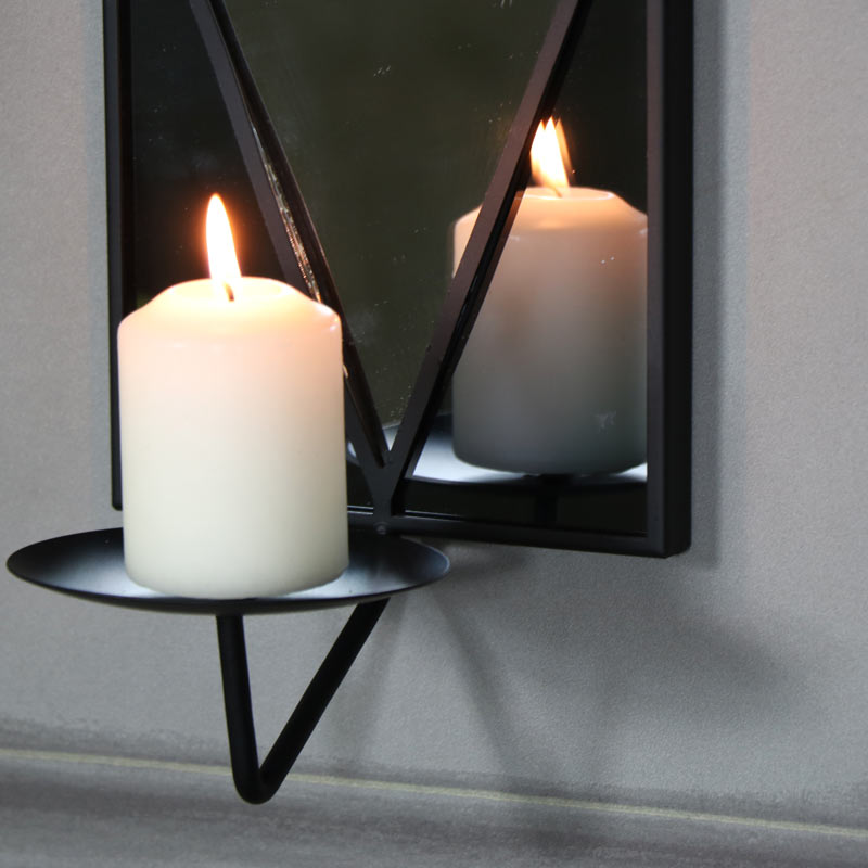 Black Wall Mirror With Candle Sconce Melody Maison 174