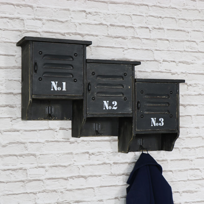 Black Wooden Industrial Style Wall Hooks and Storage Cupboards