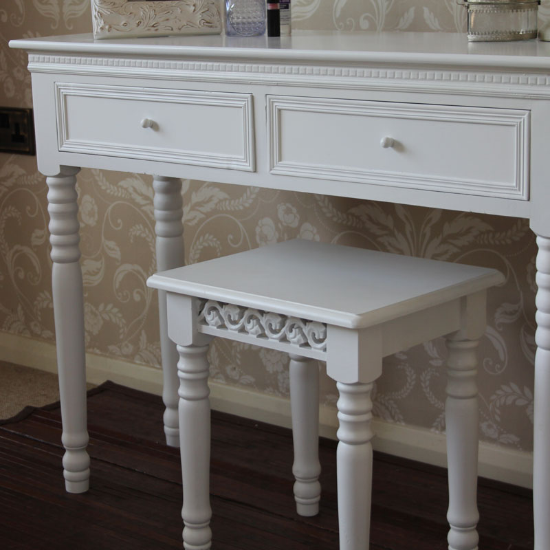 Blanche Range - White Dressing Table with Stool