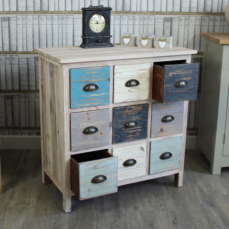 Blue 9 Drawer Wooden Storage Chest