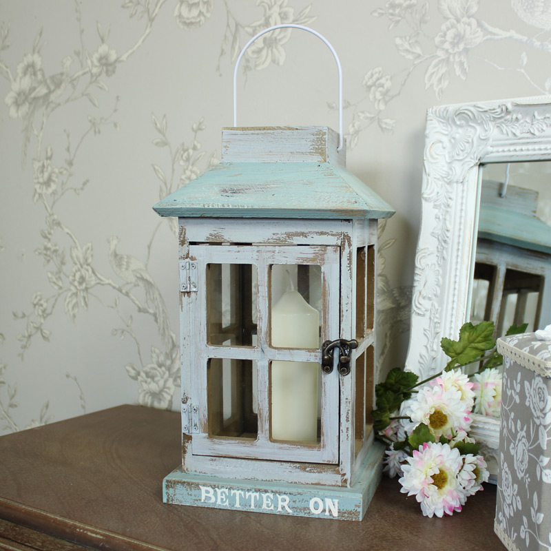 Outdoor Hanging Lanterns With Stand: Blue Wooden Glass Candle Lantern Stand Shabby Vintage Chic