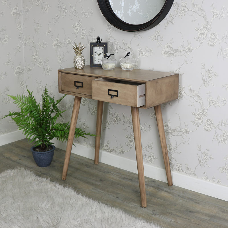 wooden console table. Brown Wooden Retro Style 2 Drawer Console Table - Brixham Range