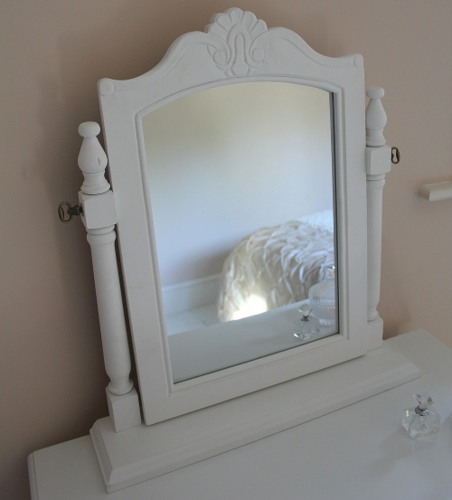 'Camille Range' White two drawer dressing table and mirror bedroom hall girls