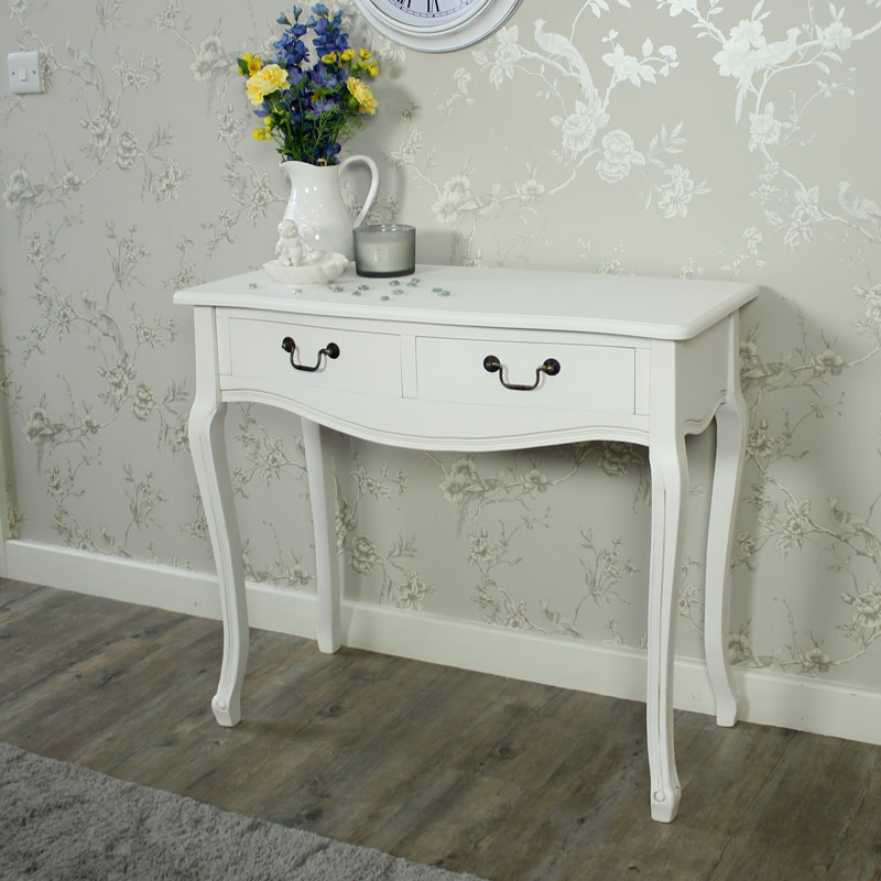 Classic White 2 Drawer Dressing Table / Console Table