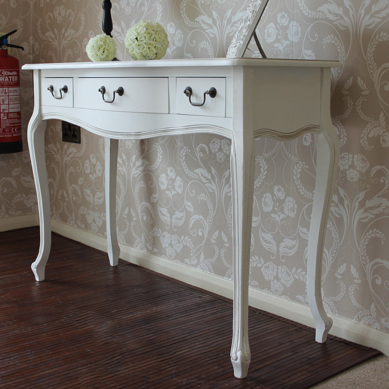 white wooden console table dressing table drawer shabby. Black Bedroom Furniture Sets. Home Design Ideas