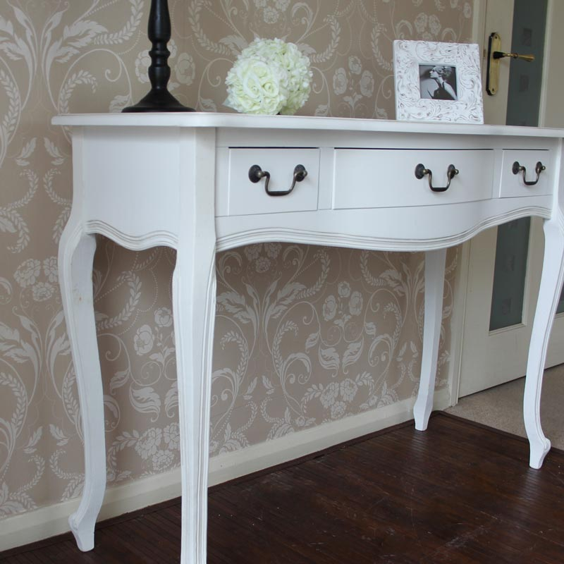 White wooden console table dressing table drawer shabby french chic bedroom hall ebay - White hall table uk ...
