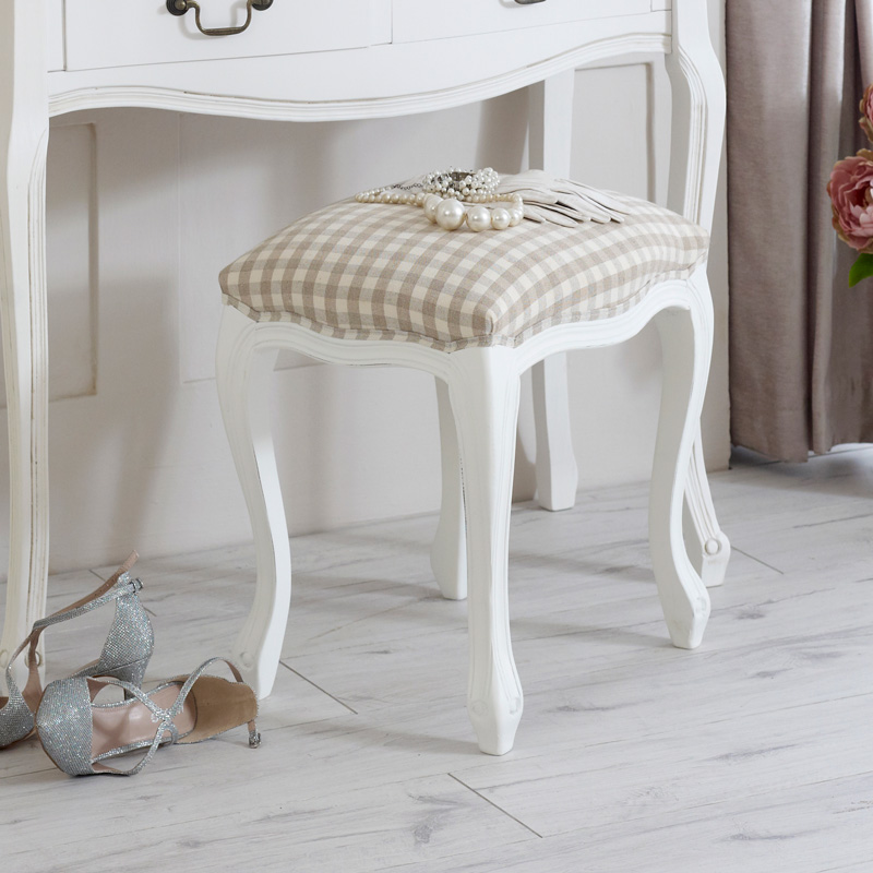 Classic white dressing table stool mirror french country for French white dressing table