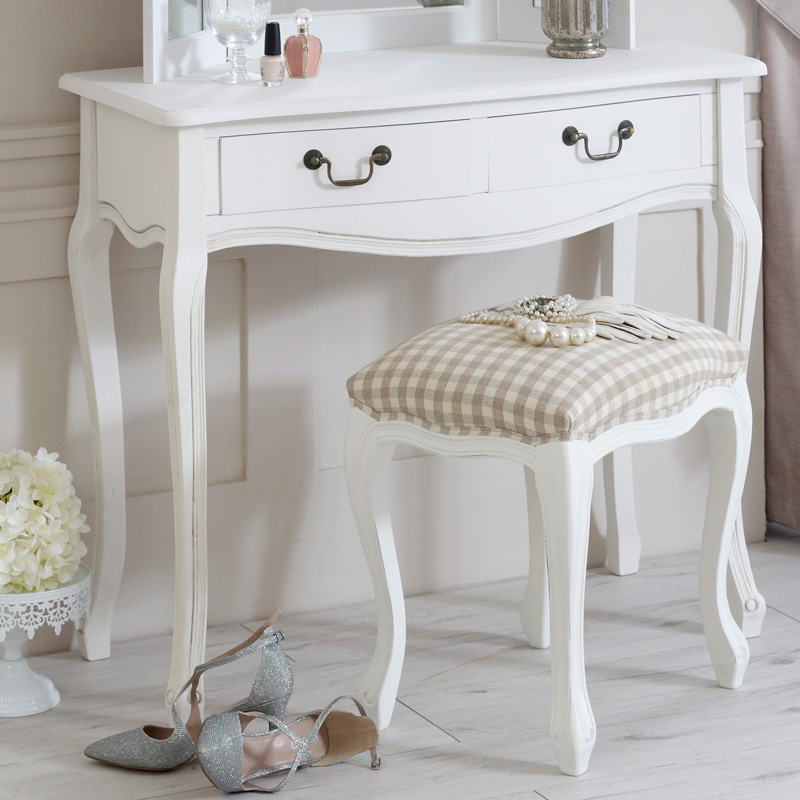 Classic white dressing table mirror and stool set for Range dressing table