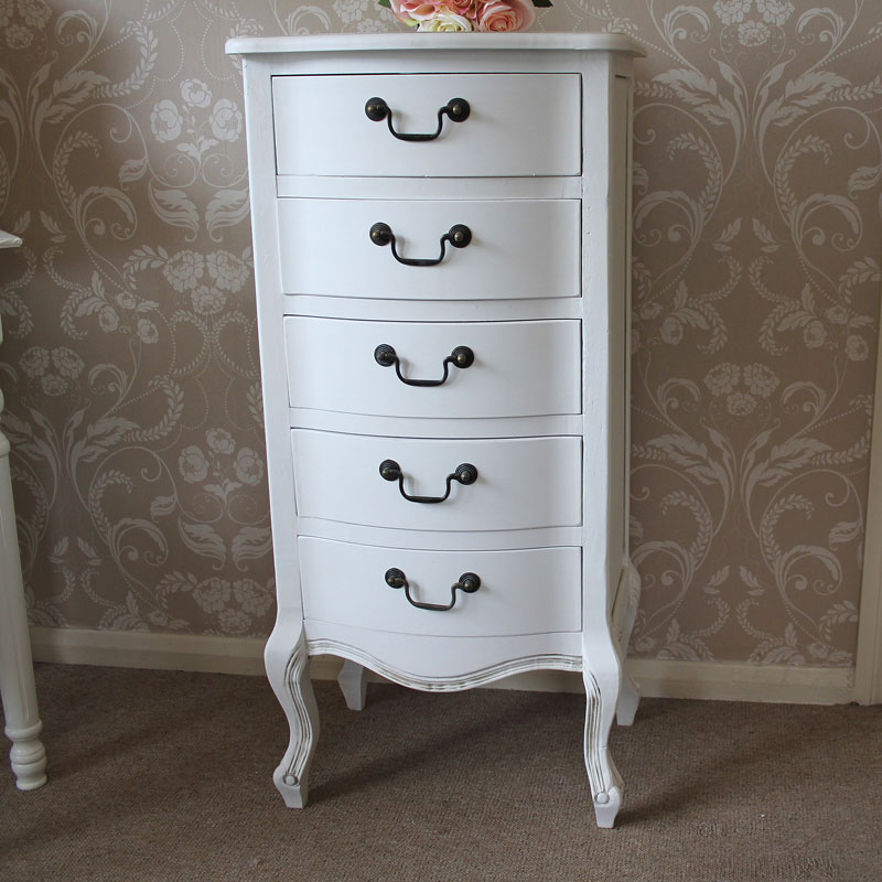 Classic White Range -  Five Drawer Tall Boy Chest