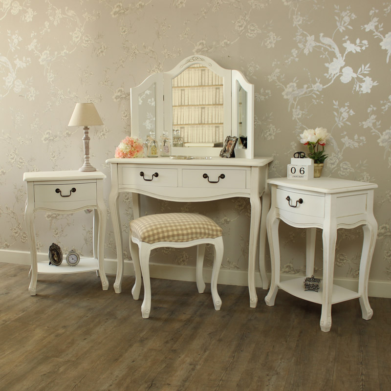 white dressing table stool mirror 2 bedside tables shabby french chic bundle ebay. Black Bedroom Furniture Sets. Home Design Ideas