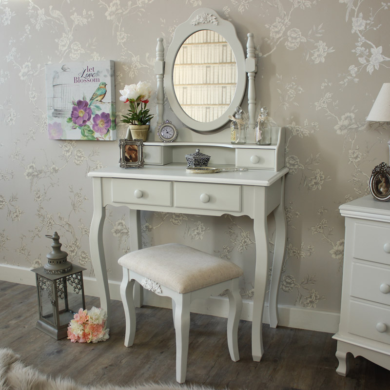 Grey Dressing Table, Mirror And Stool   Claudette Range