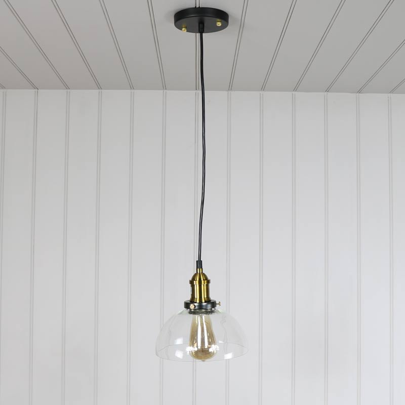 Clear Glass Dome Industrial Pendant Ceiling Light - Melody Maison®