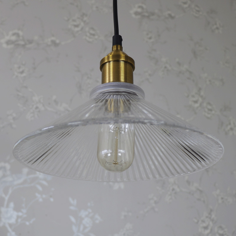 Clear Ribbed Glass Industrial Ceiling Light Melody Maison 174