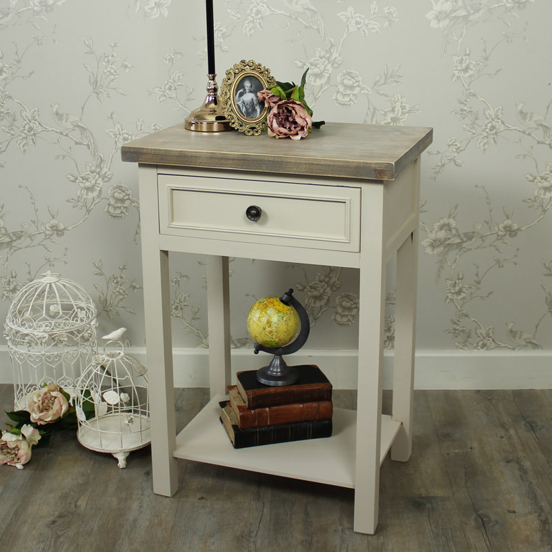 Cotswold Range - Grey 1 Drawer Bedside/Lamp Table