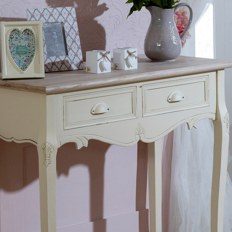 Country Ash Range - 2 Drawer Dressing Table with Mirror