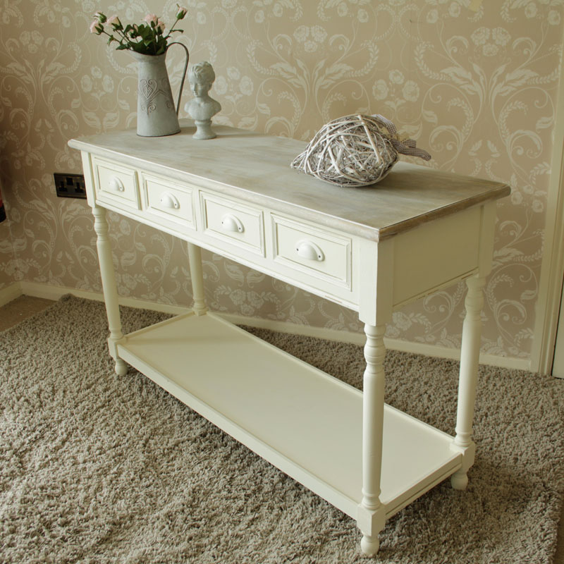 Country ash range cream 4 drawer table melody maisonr for Cream hall table